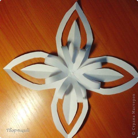 Мастер-класс Новый год Оригами Оригинальная объёмная снежинка Бумага фото 6