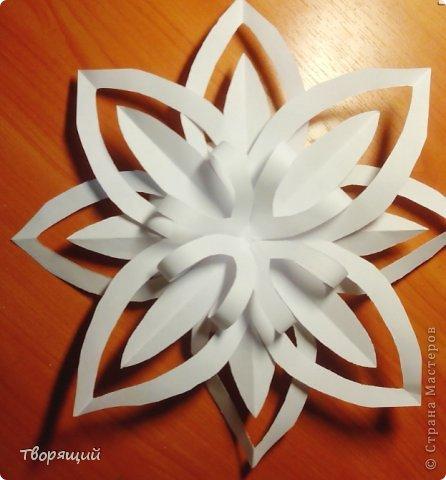 Мастер-класс Новый год Оригами Оригинальная объёмная снежинка Бумага фото 8