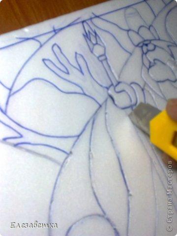 Картина панно рисунок Мастер-класс 8 марта День защиты детей День матери Новый год Аппликация Мозаика Как я это делаю  Мини МК Клей Пенопласт Ткань фото 12