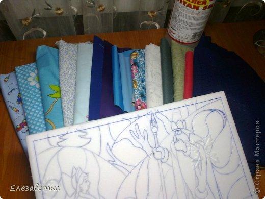 Картина панно рисунок Мастер-класс 8 марта День защиты детей День матери Новый год Аппликация Мозаика Как я это делаю  Мини МК Клей Пенопласт Ткань фото 15