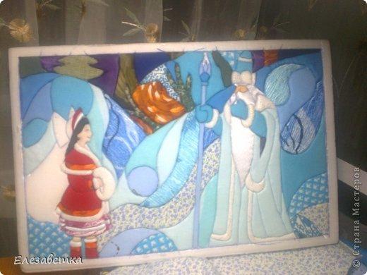 Картина панно рисунок Мастер-класс 8 марта День защиты детей День матери Новый год Аппликация Мозаика Как я это делаю  Мини МК Клей Пенопласт Ткань фото 28