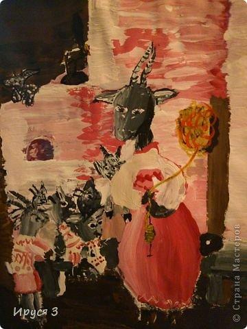 """Коза с козлятами к сказке """" Волк и 7 козлят """" Рисовала Марина ( 11 лет )"""
