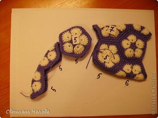 Мастер-класс Вязание крючком МК Слоник из вязанных элементов африканский цветок  Пряжа фото 6