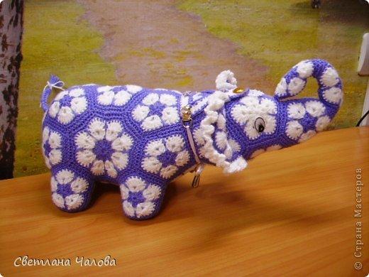 Мастер-класс Вязание крючком МК Слоник из вязанных элементов африканский цветок  Пряжа фото 14