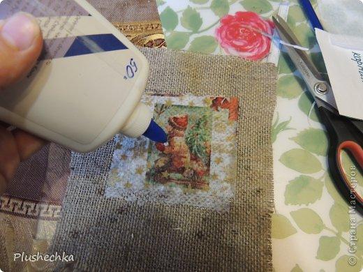 Мастер-класс Поделка изделие Новый год Декупаж Шитьё МК Конь-огранайзер Ленты Мешковина Нитки Пластика Шпагат фото 10