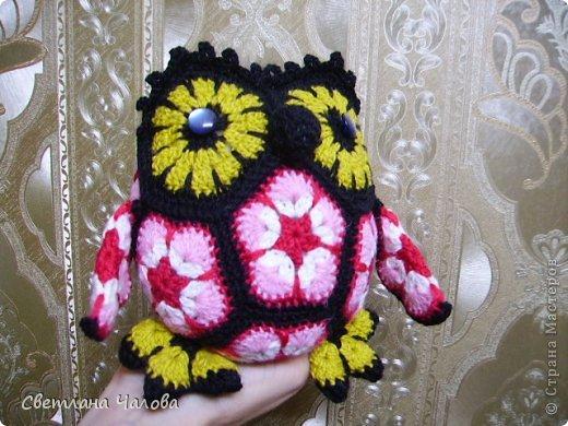 Игрушка Мастер-класс Вязание крючком МК совенок из элементов Африканский цветок  Пряжа фото 1