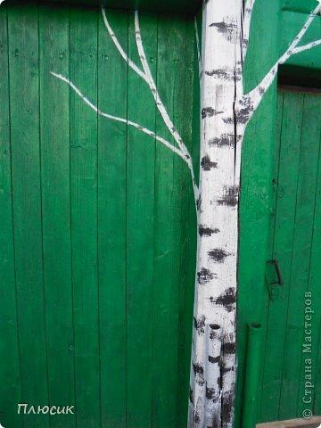 """Это ворота моего дома. Образ берёзок появился в результате одной бессонной ночи с мыслями: """"Завтра ворота надо покрасить. Зелёная краска есть, но мало. Может белую как-нибудь пристроить? Может столбы белым покрасить?.....""""  фото 4"""