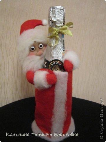 Поделка изделие Новый год Шитьё Дед Мороз Борода из Ваты      Мех Фетр фото 1
