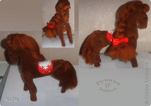 Лошадка-шоколадка из вельвета высота ок.20 см фото 1