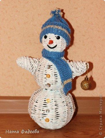 Мастер-класс Новый год Плетение Снеговичёк-лесовичёк Бумага газетная фото 1