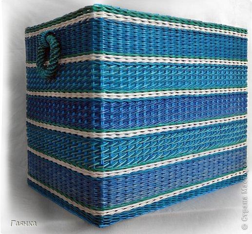 Привет всем! Эту корзину сплела сестре в подарок на Новый Год. Размер корзины: длина 64, ширина 41, высота 50. фото 1