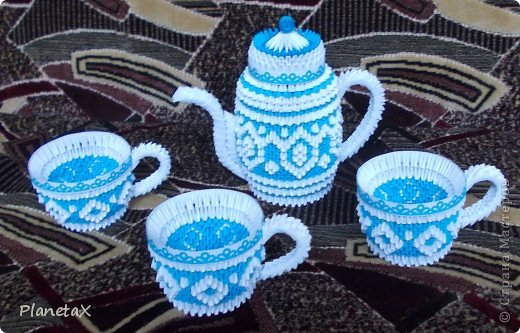 Смотреть картинки оригами из бумаги по модулям чайный сервиз