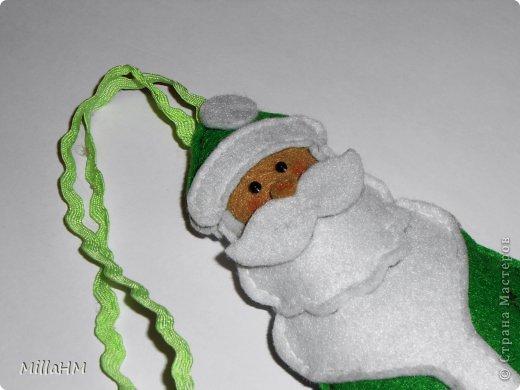 Мастер-класс Поделка изделие Новый год Шитьё Ёлочная игрушка из фетра Дед Мороз Бисер Нитки Фетр фото 6