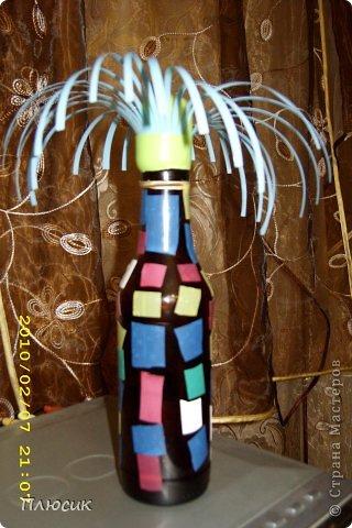 """Представляю вашему вниманию из своего архива 2009 года результаты творчества учениц 6 класса. """"Напитки все выпиты вами до дна - И вроде, бутылка уже не нужна! Постойте! Ещё пригодится она! Здесь просто фантазия ваша важна! Необычный проект вам представить хотим -  Пустую бутылку в шедевр превратим! Возможно, что это «зацепит» и вас. Итак, начинаем творений показ! фото 10"""