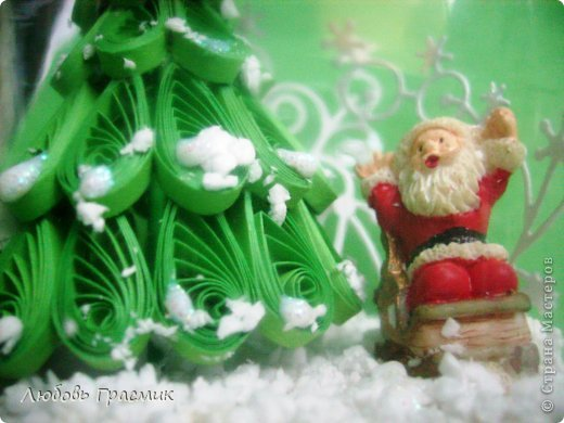 """Снежная баночка """"Как Дед Мороз нашел подходящую елочку"""" фото 4"""