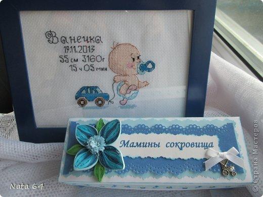 Вышила метрику в подарок племяшу на рождение сынульки. Схему нашла в интернете, а коробочка по МК Марии Кац https://stranamasterov.ru/node/610317?c=favorite Спасибо за подробное описание.