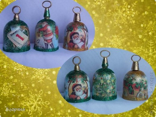 Декор предметов Мастер-класс Новый год Декупаж Делаем колокольчики Мастер-класс Материал бросовый фото 11
