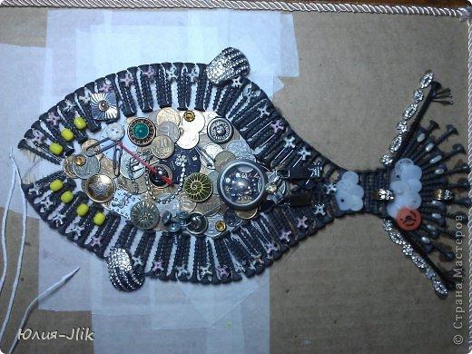 Мастер-класс День рождения Коллаж Моделирование конструирование рыбка из гвоздиков Бумага Бусинки Клей Листья Ракушки фото 7