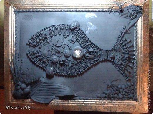 Мастер-класс День рождения Коллаж Моделирование конструирование рыбка из гвоздиков Бумага Бусинки Клей Листья Ракушки фото 9