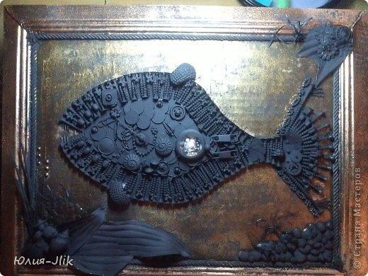 Мастер-класс День рождения Коллаж Моделирование конструирование рыбка из гвоздиков Бумага Бусинки Клей Листья Ракушки фото 10