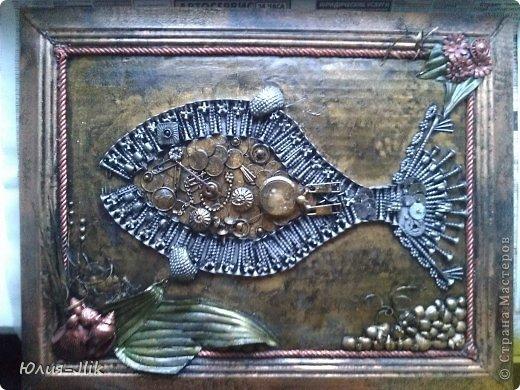 Мастер-класс День рождения Коллаж Моделирование конструирование рыбка из гвоздиков Бумага Бусинки Клей Листья Ракушки фото 11