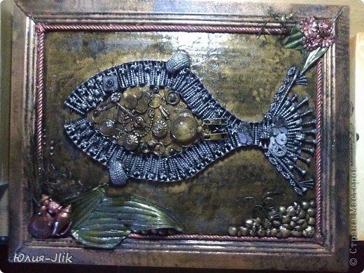 Мастер-класс День рождения Коллаж Моделирование конструирование рыбка из гвоздиков Бумага Бусинки Клей Листья Ракушки фото 12