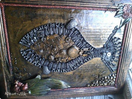 Мастер-класс День рождения Коллаж Моделирование конструирование рыбка из гвоздиков Бумага Бусинки Клей Листья Ракушки фото 1