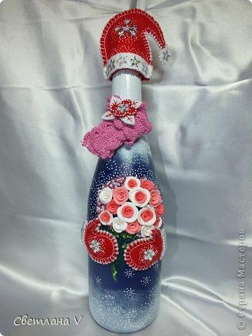 """Такая новогодняя бутылочка получилась) Изначально планировалось """"попроще"""", но тут, как говорится, Остапа понесло))"""