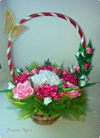 Корзина с цветами из лент мастер класс
