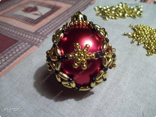 Декор предметов Мастер-класс Новый год Бисероплетение Делаем Новогодние шары на Ёлку Бисер фото 9