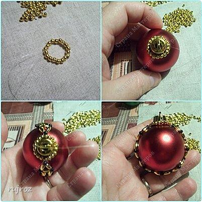Декор предметов Мастер-класс Новый год Бисероплетение Делаем Новогодние шары на Ёлку Бисер фото 5