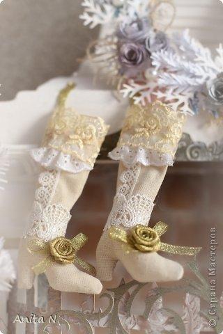 Декор предметов Мастер-класс Поделка изделие Новый год Ассамбляж МК новогодних носочков и сапожек фото 1