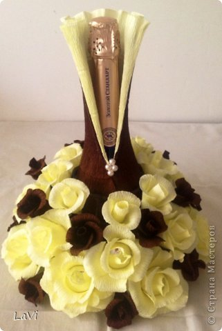 Свит-дизайн 8 марта Свадьба Бумагопластика Бутылочка на праздник Бумага гофрированная фото 3