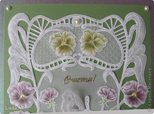 Открытка  Пергамано (Парчмент) –  Фиалки и бабочка фото 2