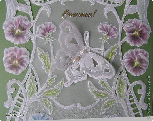 Открытка  Пергамано (Парчмент) –  Фиалки и бабочка фото 3