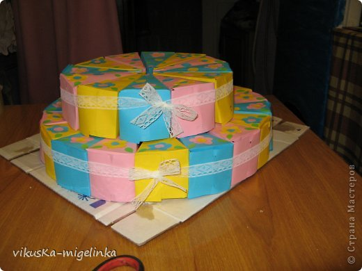 Идея найдена на просторах интернета, в СМ тоже очень много таких тортиков, а этот тортик для 30-ти деток в саду. Ну очень не хотелось нести угощенья в сад на день рождения дочки в пакете, как обычно делают все)))) фото 1