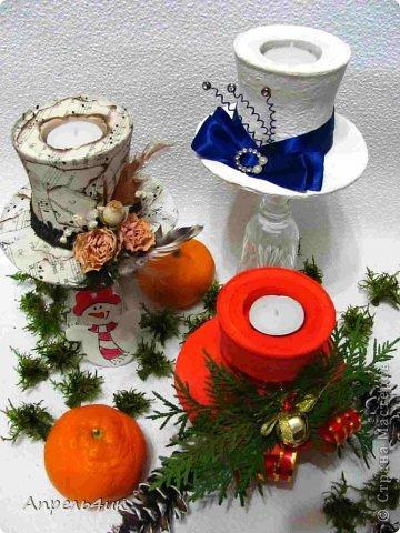 Интерьер Мастер-класс Поделка изделие Новый год Моделирование конструирование Новогодние подсвечники-шляпки Гипс Гуашь Картон Клей фото 2