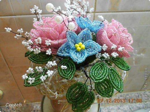 Поделка изделие Бисероплетение Букет цветов из бисера Бисер Проволока фото 3.