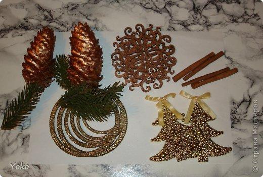 Сегодня я покажу как можно  задекорировать - упаковать подарок на Новый год, хотя по такой же схеме можно украсить подарок и на любой другой праздник, используя соответствующие  декоративные эллементы фото 4