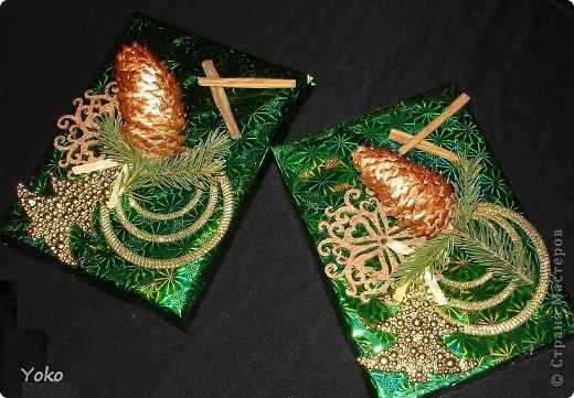 Декор предметов Мастер-класс Новый год Аппликация Моделирование конструирование Упаковка новогоднего подарка+МК Бумага Фетр Шишки фото 1