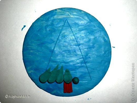 Картина панно рисунок Мастер-класс Новый год Аппликация из пластилина + обратная Лепка Ёлочка 2 варианта Пластилин фото 4