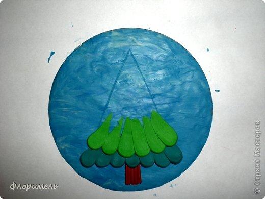 Картина панно рисунок Мастер-класс Новый год Аппликация из пластилина + обратная Лепка Ёлочка 2 варианта Пластилин фото 5