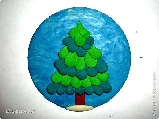 Картина панно рисунок Мастер-класс Новый год Аппликация из пластилина + обратная Лепка Ёлочка 2 варианта Пластилин фото 6