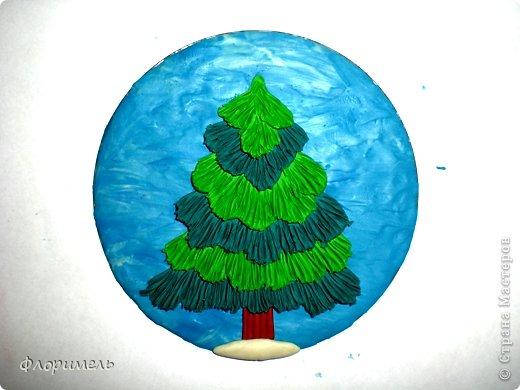 Картина панно рисунок Мастер-класс Новый год Аппликация из пластилина + обратная Лепка Ёлочка 2 варианта Пластилин фото 7