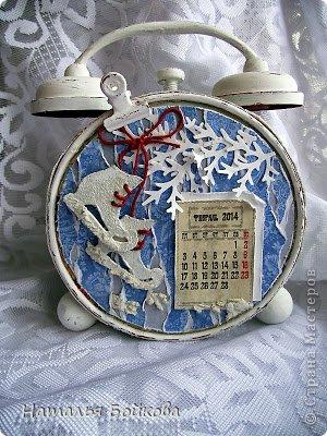 Мастер-класс Скрапбукинг Новый год Рождество Ассамбляж МК Календарь-будильник или снова Здравствуйте Бумага фото 16