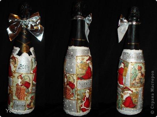 Посмотрела на свой профиль, а у меня в последних записях только БУТЫЛКИ да БУТЫЛКИ!!! И это еще не конец! Потому в этом посте решила объединить остатки своих бутылочек, которые делались в подарки на Новый год. Что-то делалось в подарок, что-то на заказ, работы было много, не спала ночами, бутылки отличались и по марке напитка и по форме. Что в итоге  вышло - судить вам. Некоторые фото плохого качества, т.к. фоткала перед самой отдачей и другого нет. Многие мотивчики повторяются - это особо излюбленные картиночки, но что-то будет новеньким  Итак, наборчик № 3 фото 4