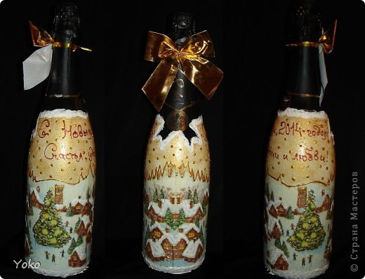 Посмотрела на свой профиль, а у меня в последних записях только БУТЫЛКИ да БУТЫЛКИ!!! И это еще не конец! Потому в этом посте решила объединить остатки своих бутылочек, которые делались в подарки на Новый год. Что-то делалось в подарок, что-то на заказ, работы было много, не спала ночами, бутылки отличались и по марке напитка и по форме. Что в итоге  вышло - судить вам. Некоторые фото плохого качества, т.к. фоткала перед самой отдачей и другого нет. Многие мотивчики повторяются - это особо излюбленные картиночки, но что-то будет новеньким  Итак, наборчик № 3 фото 6