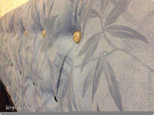 Интерьер Мастер-класс Каретная стяжка Изголовье кровати Дерево Поролон Ткань фото 25