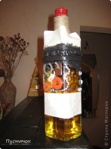 Декор предметов Мастер-класс 23 февраля Аппликация Ассамбляж В подарок мужчинам Бутылки стеклянные Клей Краска Шпагат фото 3