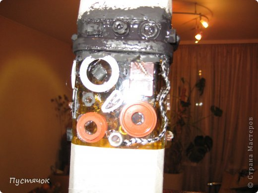 Декор предметов Мастер-класс 23 февраля Аппликация Ассамбляж В подарок мужчинам Бутылки стеклянные Клей Краска Шпагат фото 7